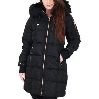 Jessica Simpson Womens Puffer Coat Faux Fur Winter