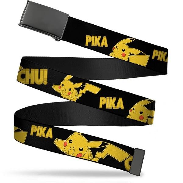 Blank Black Buckle Pikachu Attack Poses Pika Chu! Black Yellow Web Belt