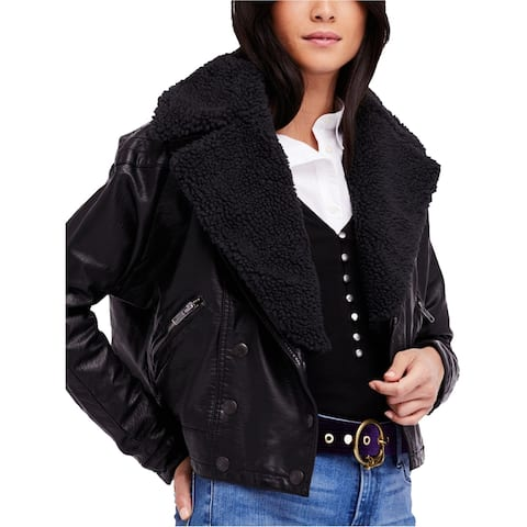 Free People Womens Haley Faux-Leather Motorcycle Jacket