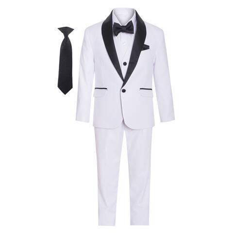 Multi Color Satin Shawl Collar 7 Pcs Special Occasion Tuxedo Boys