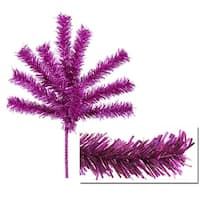 "Sparkling Fuchsia Tinsel Christmas Craft Pick 7"" - Pink"
