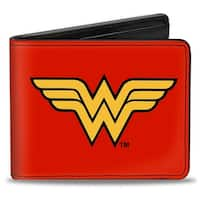 Wonder Woman Logo Red Black Gold Bi Fold Wallet - One Size Fits most