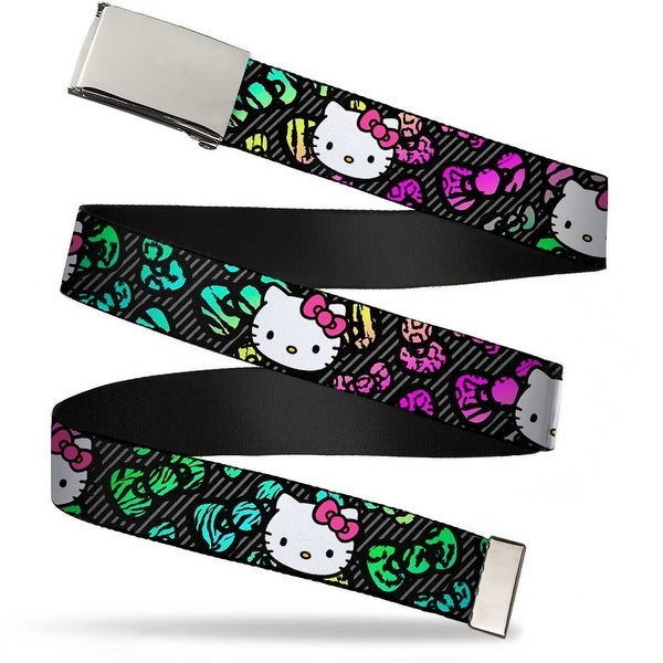Blank Chrome Bo Buckle Hello Kitty Face Pink Bow Bows & Stripes Black Web Belt