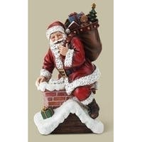 "10.75"" Red Santa Climbing in Chimney Decorative Christmas Figure"