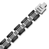 Chisel Stainless Steel Brushed and Polished Black IP-plated Bracelet