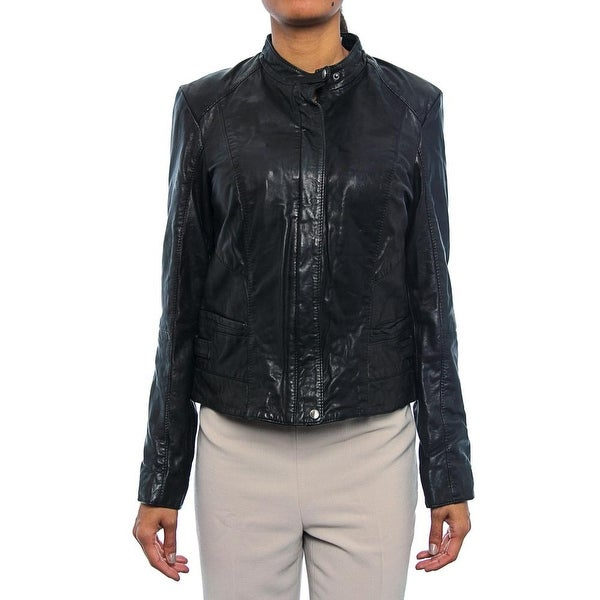 Shop Cole Haan Women Leather Moto Jacket Basic Jacket Blk Free