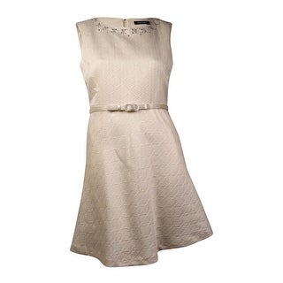 Ellen Tracy Women's Embellished Jacquard Belted A-Line Dress (16, Ivory) - Ivory - 16