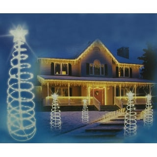 Set of 3 Clear Lighted Outdoor Spiral Walkway Christmas Trees Yard ...