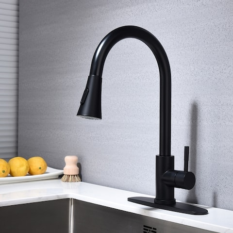 Kitchen Faucet with Pull Down Sprayer, Unique 3 Water Effect High Arc Brushed Nickel Finish with Removable Escutcheon