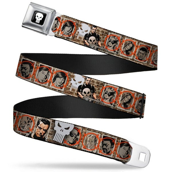Marvel Universe Punisher Logo Full Color Black White Punisher House Of M: Seatbelt Belt
