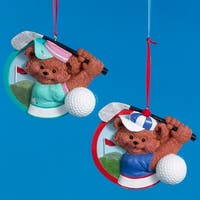 Club Pack of 12 Golf Boy and Girl Bear Christmas Ornaments for Personalization - multi