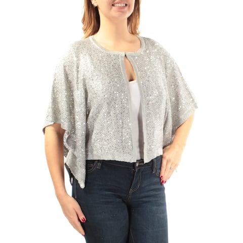 ALFANI Womens Silver Sequined Mesh Kimono Sleeve Open Sweater Size: L