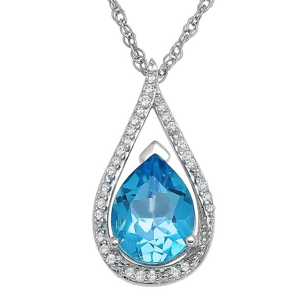 2 1/4 ct Natural Swiss Blue Topaz Pendant with Diamonds in Sterling Silver