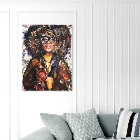 Oliver Gal 'Katy Hirschfeld - Urban Glam Fro' Fashion and Glam Wall Art Canvas Print Portraits - Brown, White
