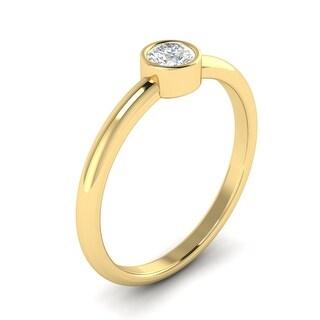 1/3 CTW Bezel-Set Round Cut Diamond Solitaire Engagement Ring 14kt Gold