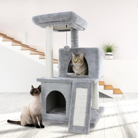 Siavonce Cat Tree Sisal Scratching Post Kitten Furniture Plush Condo Playhouse