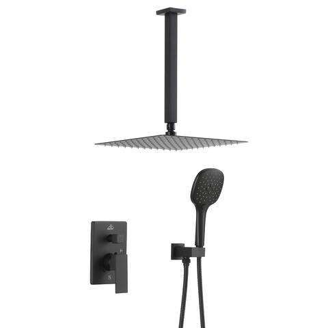 ExBrite Shower Faucet Matte Black 12 inch Luxury Rain Mixer Shower Combo Set Ceiling Mounted Rain Shower Head System