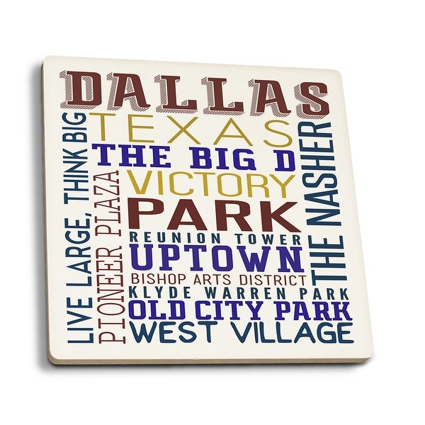 Dallas, Texas - Typography - Lantern Press Artwork (Set of 4 Ceramic  Coasters - Cork-backed, Absorbent) - Ceramic Coasters