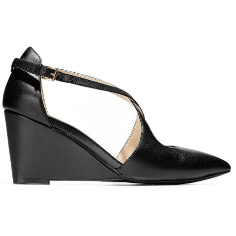 Cole Haan Womens Emberlee Wedges Leather Strappy - Black Leather