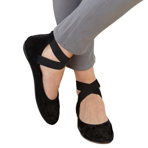 Women's Arabesque Strappy Ballet Flats - Zip Back - Suede