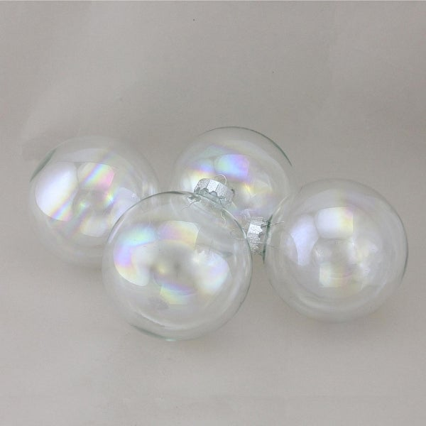 "4-Piece Iridescent Glass Ball Christmas Ornament Set 4"" (100mm)"
