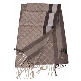 Gucci 333019 Angora Wool Taupe & Brown Web Stripe Diamante Scarf Muffler