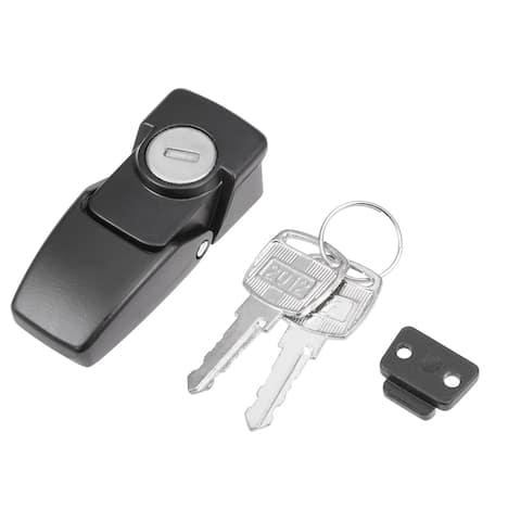 Electric Cabinet Hasp Lock 64mm Long Zinc Alloy w Keys Black DKS604 - Black 64mm Long