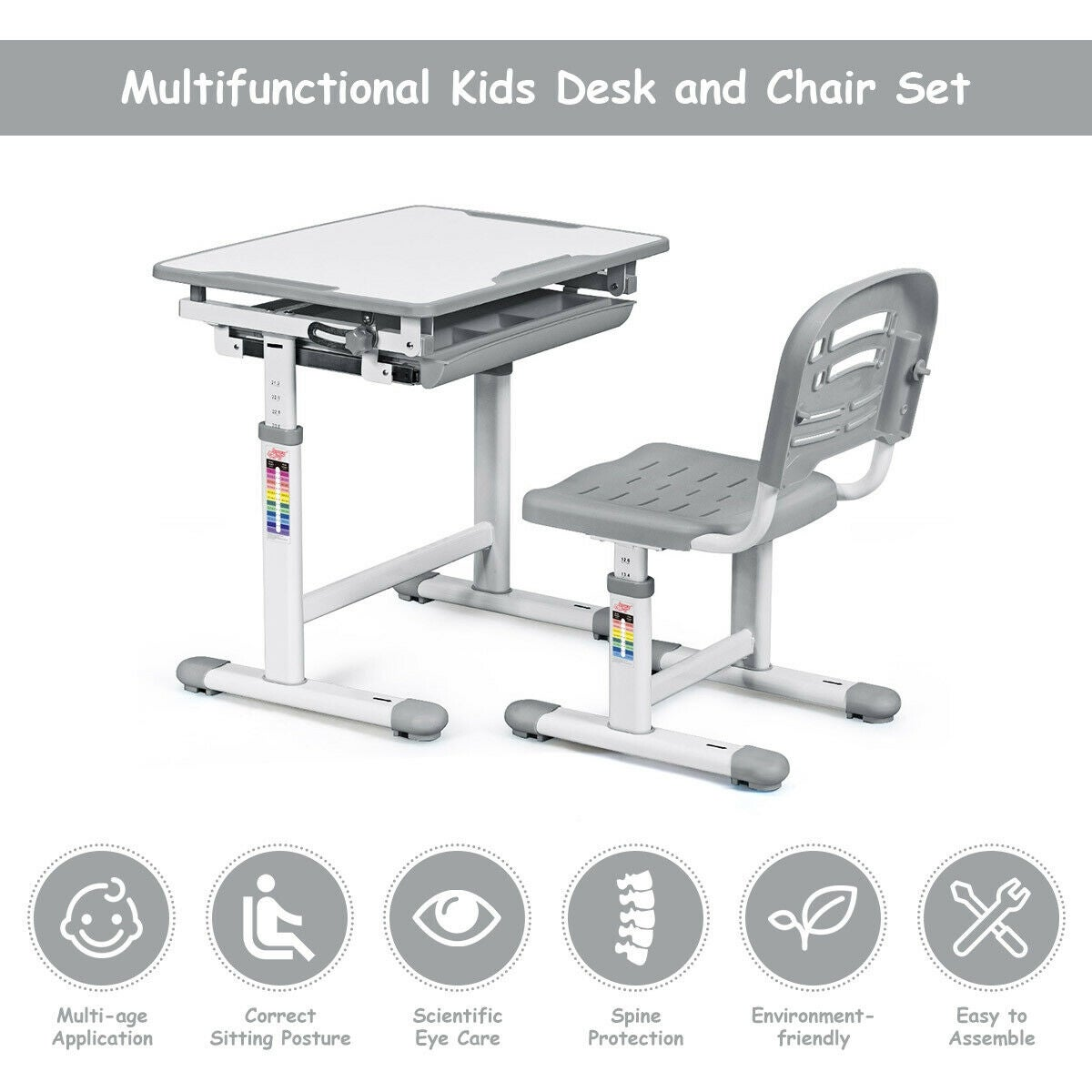 Groovy Gymax Height Adjustable Childrens Desk Chair Set Multifunctional Study Drawing Gray Onthecornerstone Fun Painted Chair Ideas Images Onthecornerstoneorg