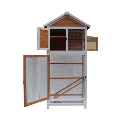 Bird Cage Wooden Cockatiel Parakeet Canary Finch Conure Play House - Medium