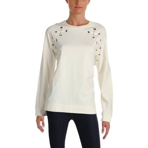 Aqua Womens Sweatshirt Grommet Lace-Up