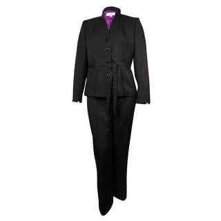 f95de4837f825 Shop Le Suit Women s Madison Belted Mandarin Pant Suit - Black - 18 - Free  Shipping Today - Overstock.com - 16198541