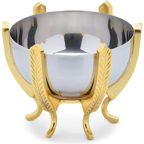Cheer Collection Shiny Stainless Steel Decorative Bowl on Elegant Gold Base