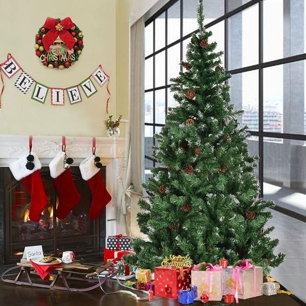Costway 7 Ft Artificial Christmas Tree Premium Hinged w/ Solid Metal Legs & Pine Cones