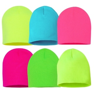 6 Different Neon colors 8 inch Knit Beanie Set