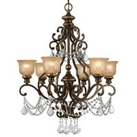 """Crystorama Lighting Group 7516-CL-MWP Norwalk 6 Light 28"""" Wide Wrought Iron Chan"""