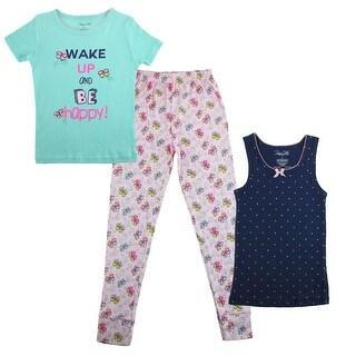Rene Rofe Girl's 3 Piece Tee Tank Pant Pajama Set
