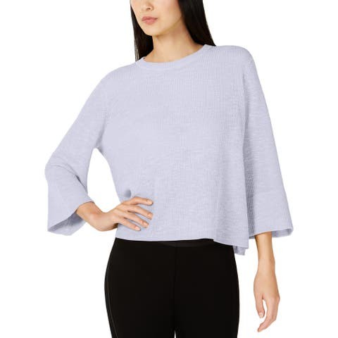 Eileen Fisher Womens Crewneck Sweater Cropped Bell Sleeves