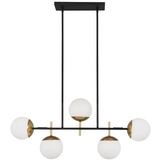 "Kovacs P1355-618 Alluria 5 Light 36"" Wide Linear Chandelier with Etched Opal Gla"