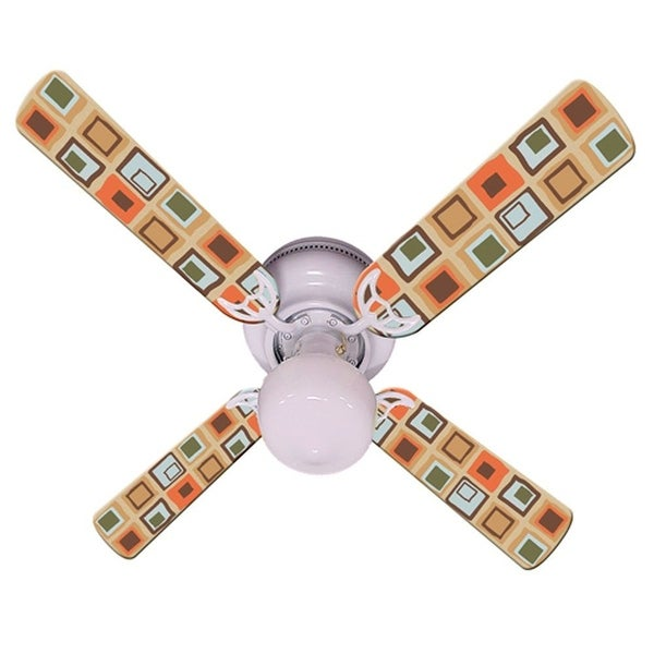 Tan Bright Mod Squares Print Blades 42in Ceiling Fan Light Kit - Multi