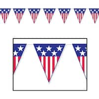 Pack of 12 Red, White and Blue Spirit Of America Pennant Banner Hanging Decorations 12'