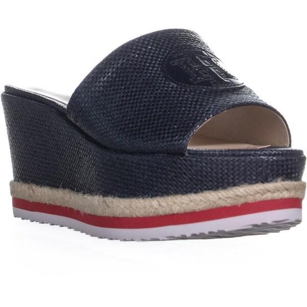 615b2fc3e Shop Tommy Hilfiger Batist Logo Platform Wedge Sandals