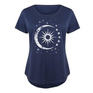Celestial Sun Moon Scene  - Ladies Plus Size Scoop Neck Tee