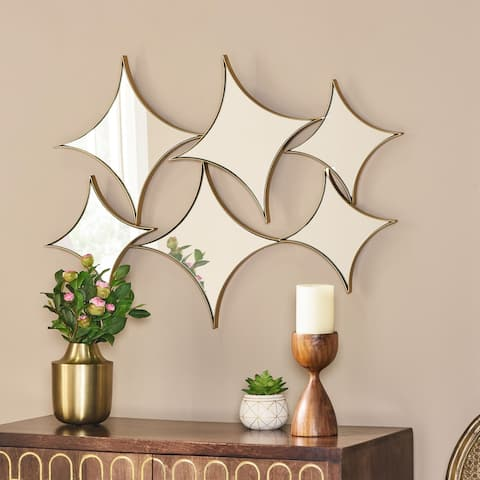 """Mauney Modern Glam Star Cluster Wall Mirror by Christopher Knight Home - Mirror + Gold - 23.75"""" H x 33.00"""" W x 1.56"""" D"""
