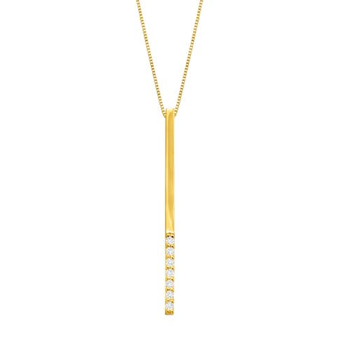 Elongated Vertical Bar Pendant with Cubic Zirconia in 14K Gold