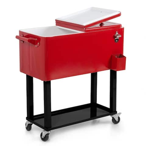 Belleze 80 Quart Patio Deck Cooler Rolling Outdoor Party Home, Red - standard