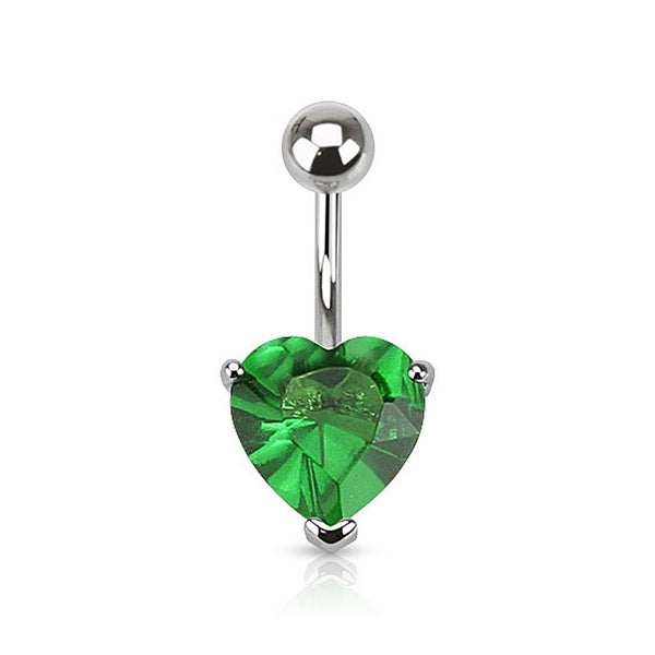 "{Green} Navel Belly Button Ring with Prongset Large 10mm Heart CZ - 14GA 3/8"" Long - Green (Sold Ind.)"
