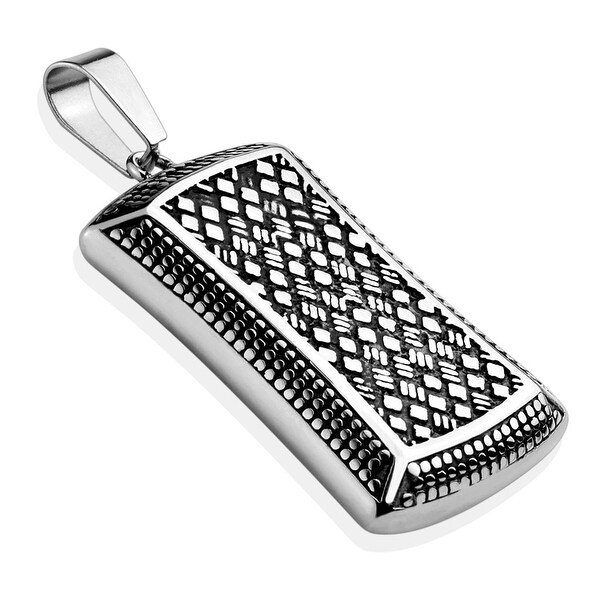Trellis Pattern Engraved Stainless Steel Pendant  (22.6 mm Width)