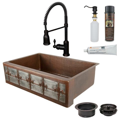 Premier Copper Products KSP4_KASDB33229F-NB Kitchen Sink, Spring Faucet and Accessories Package