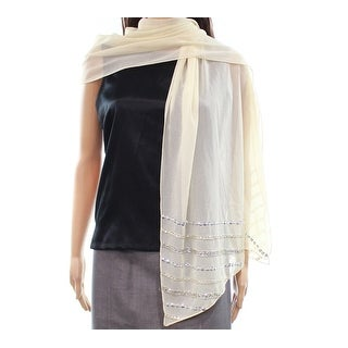 INC NEW White Ivory Champagne One Size Sequin-Striped Sheer Shawl/Wrap