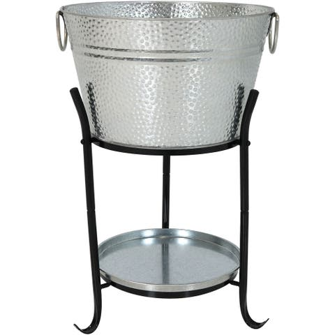 Sunnydaze Pebbled Galvanized Steel Ice Bucket Drink Cooler with Stand and Tray - Silver Silver